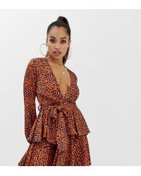 d4a6c3b10b7d John Zack High Neck Open Back Mini Dress With Split Sleeve - Red in ...