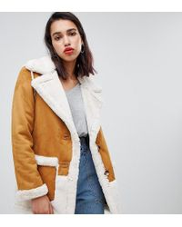 River Island - Aviator Jacket In Tan - Lyst
