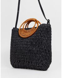New Look - Woven Straw Bag In Black - Lyst