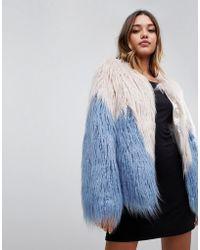 Boohoo - Two Tone Mongolian Faux Fur Coat In Multi - Lyst