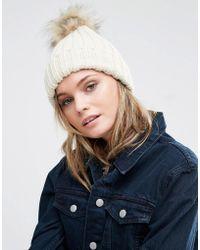 Warehouse - Faux Fur Ribbed Beanie Hat - Beige - Lyst