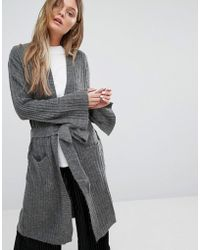 ADPT - Driven Long Ribbed Knit Tie Waist Cardigan - Lyst