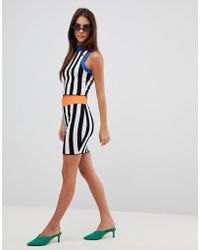 Missguided - Contrast Stripe Knitted Skirt - Lyst