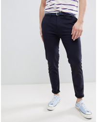 Pull&Bear - Skinny Chinos With Belt In Navy - Lyst