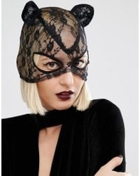 Leg Avenue - Halloween Lace Cat Mask - Lyst