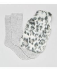New Look - Leopard Hot Water Bottle And Fluffy Sock Gift Set - Lyst