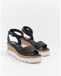 Sol Sana Leather Flatform Sandals - Black