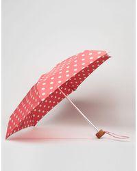 Cath Kidston - Tiny Button Polka Dot Umbrella In Cranberry - Lyst