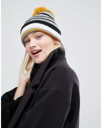 Monki - Stripe Pom Beanie Hat - Lyst
