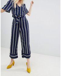 New Look - Stripe Wide Leg Crop Trouser Co-ord - Lyst