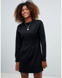 cf2c740c134fe Bershka - Waist Fitted Jersey Dress - Lyst