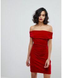 Reiss - Velvet Off Shoulder Dress - Lyst