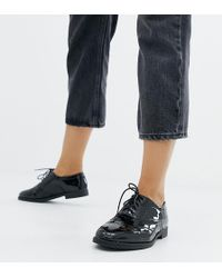 New Look - Patent Lace Up Brogue In Black - Lyst