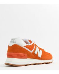 New Balance - 574 Orange Trainers - Lyst