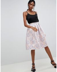 Liquorish - Floral Jaquard Pleated Prom Skirt - Lyst