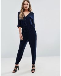 Lipsy - Relaxed Jumpsuit With Gold Button Detail - Lyst