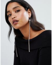 Lipsy - Statement Cluster Jewel Earrings With Chain Tassel In Gold - Lyst