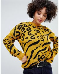 Missguided - Jumper In Yellow Leopard - Lyst