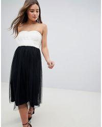 ASOS - Design Colourblock Tulle Bandeau Midi Dress - Lyst