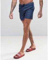 D-Struct - D Struct Swim Shorts With Mini Palm Tree Print - Lyst