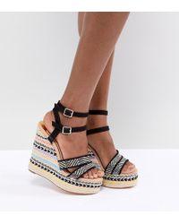 River Island - Stripe Wedge Heeled Sandals - Lyst