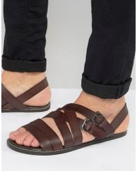 ASOS - Sandals In Burgundy Leather With Buckles - Lyst