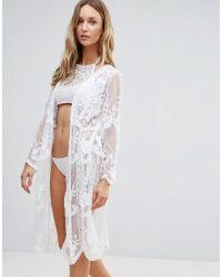 Liquorish - Sheer Lace Floral Beach Kimono - Lyst