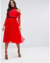 ASOS - Premium Tulle Cold Shoulder Midi Prom Dress - Lyst