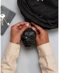 ASOS - Leather Mini Backpack Keychain In Black - Lyst