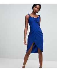 810bc36f22 Chi Chi London - Wrap Pencil Dress With Frill Detail In Cobalt - Lyst