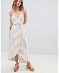 RahiCali - Stripe Button Front Wrap Dress - Lyst