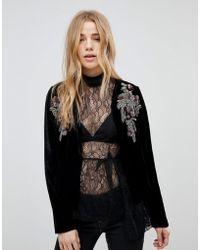New Look - Embellished Velvet Crop Jacket - Lyst