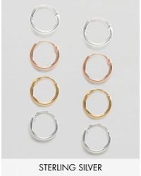 ASOS - Pack Of Four Mixed Plate Sterling Silver 9mm Hoop Earrings - Lyst