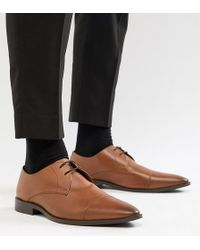 Frank Wright - Wide Fit Toe Cap Derby Shoes In Tan Leather - Lyst