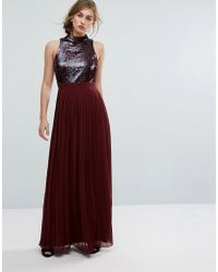 Little Mistress   Allover Sequin Top Maxi Dress With Pleated Skirt   Lyst