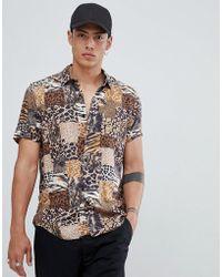 ASOS - Regular Fit Mix & Match Animal Print Shirt In Brown - Lyst