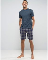 New Look - Pyjama Set In Navy Check - Lyst