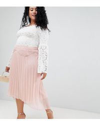 ASOS - Asos Design Curve Dobby Pleated High Low Midi Skirt With Pintuck Detail - Lyst