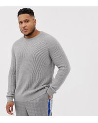 Jack & Jones - Originals Plus Size Knitted Sweater With Ribbed Detail - Lyst