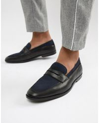 ASOS - Loafers In Black Leather And Navy Suede - Lyst