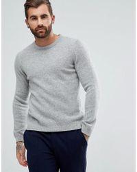 ASOS - Asos Lambswool Sweater In Light Gray - Lyst