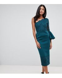 e9e7bb6d55 ASOS - Asos Design Tall One Shoulder Lace Mix Midi Dress - Lyst