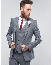 ASOS - Asos Wedding Super Skinny Suit Jacket In Herringbone Blue Wool Blend - Lyst