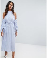 Warehouse   Premium Ruched Sleeve Cold Shoulder Dress   Lyst
