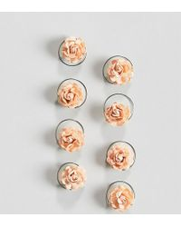 ASOS - Design Pack Of 8 Peach Floral Hair Spinners - Lyst