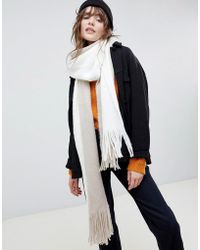 ASOS - Long Tassel Super Soft Knit Scarf In Color Block - Lyst