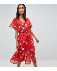 Missguided Floral Button Front Midi Dress - Red