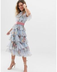 Needle & Thread - Vestito midi in tulle a strati blu crepuscolo a fiori con fascia in vita - Lyst