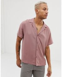 178706d7bc0 ASOS - Asos Desgn Relaxed Deep Revere Viscose Shirt In Dusty Pink - Lyst