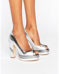 Terry De Havilland - Luna Silver Leather Peeptoe Platform Heeled Shoes - Lyst